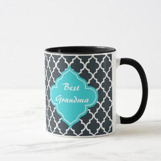 Mug Charbon de bois élégant, monogramme bleu de