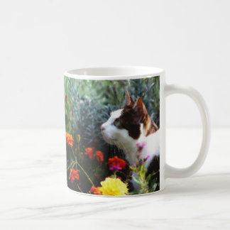 Mug Chat avec des fleurs