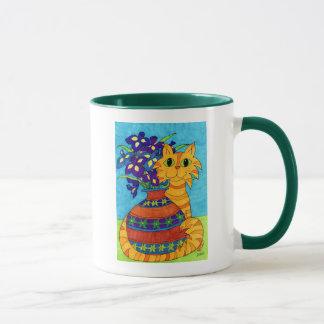 Mug Chat avec des iris dans le vase de Talavera