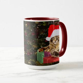 Mug Chat de ragondin du Maine Père Noël et arbre de