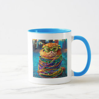 Mug Chat drôle avec les perles colorées au mardi gras