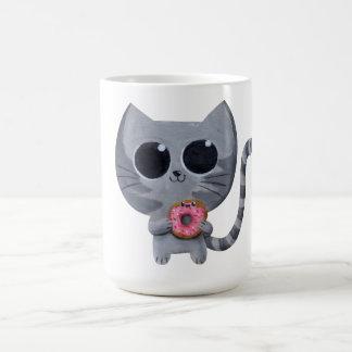Mug Chat mignon de Kawaii avec le beignet