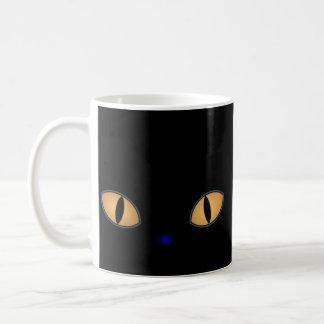 Mug Chat noir avec de grands yeux oranges