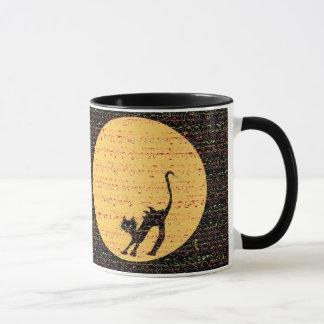 Mug Chat noir de courbement et pleine lune de fête