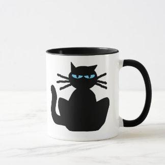 Mug Chat noir ennuyé corrompu impertinent avec des