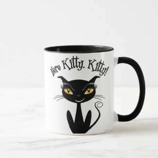 Mug Chat noir lunatique ici Kitty, Kitty !