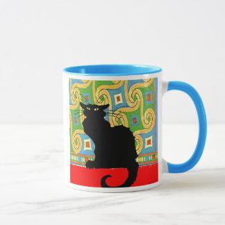 Mug Chat noir sur le papier peint abstrait, chat noir