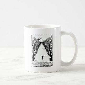 Mug Chat noir sur une illustration isolée de traînée