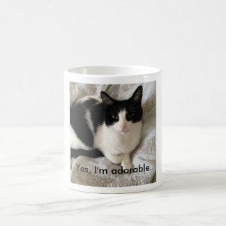 """Mug Chat sophistiqué : """"Oui, je suis adorable. """""""