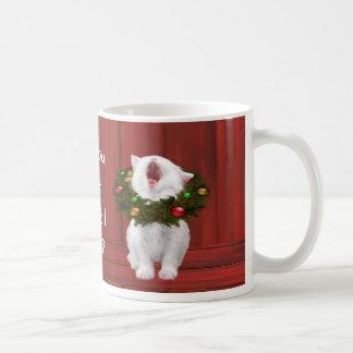 Mug Chaton de Noël blanc