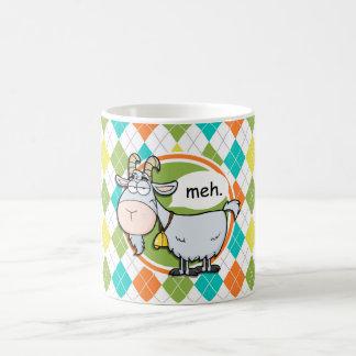 Mug Chèvre drôle ; Motif à motifs de losanges coloré