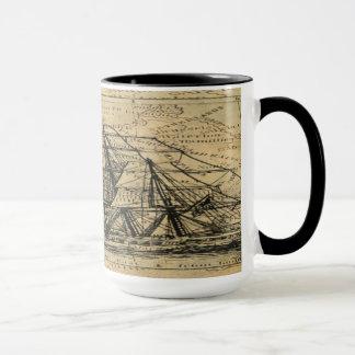 Mug Chic viril de boussole nautique vintage noire d'or