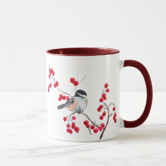 Mug CHICKADEE et BAIES ROUGES par SHARON SHARPE