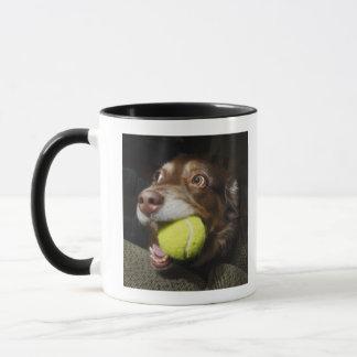 Mug Chien avec de la balle de tennis