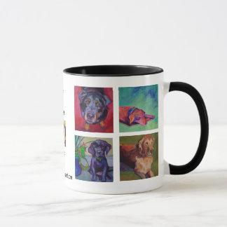 Mug CHIENS, CHIENS, CHIENS • WOOF carré par peinture !