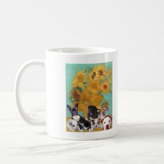 Mug Chiens mignons avec les tournesols de Van Gogh
