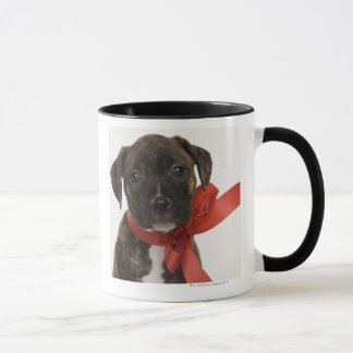 Mug Chiot de Pitbull portant le ruban rouge