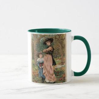 Mug Circa 1870 : Jeunes filles rassemblant le gui