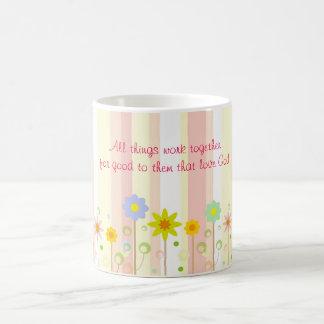 Mug Citation chrétienne de rayure et de fleur de rose
