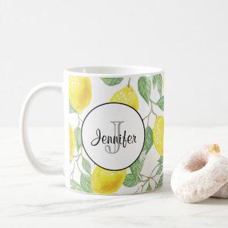 Mug Citrons jaunes avec le monogramme vert de motif de