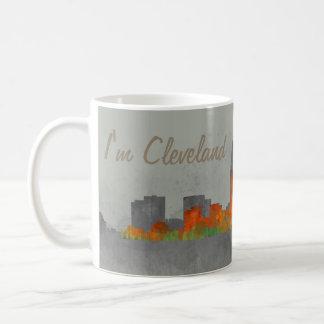 Mug Cleveland ville US skyline watercolor v3. new