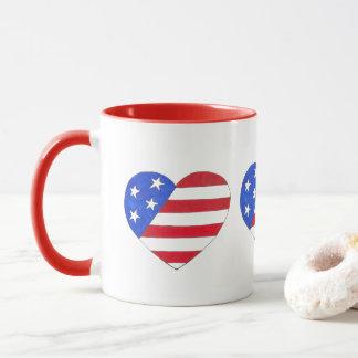 Mug Coeur patriotique bleu blanc rouge Etats-Unis de