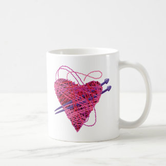 Mug coeur rose kniting