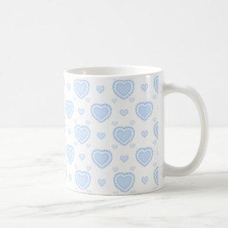 Mug Coeurs bleus et blancs romantiques