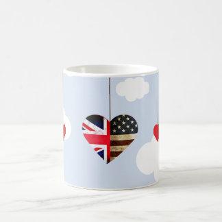 Mug Coeurs de drapeau britannique et américain de
