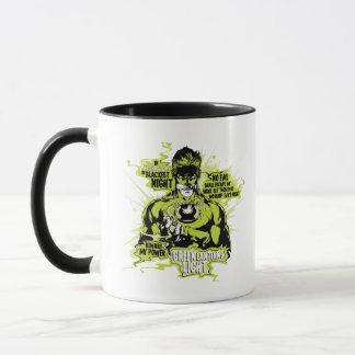 Mug Collage vert des textes de lanterne - couleur