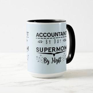 Mug Comptable de noir bleu par le Supermom de jour par