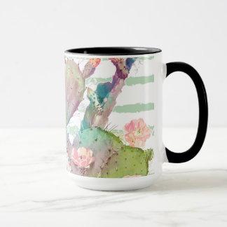 Mug Conception de cactus, florale et de rayures