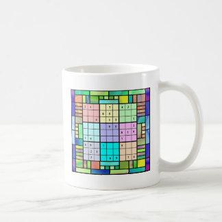 Mug Conception en verre souillé de Sudoku