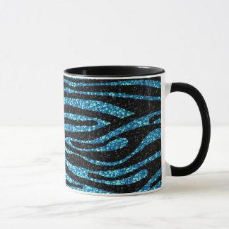 Mug Copie bleue de zèbre (scintillement de faux bling)