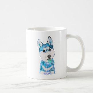 Mug Couleur pour aquarelle enrouée bleue de chiot