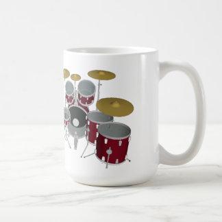 Mug Coup-de-pied de kit de tambour double (rouge) - -
