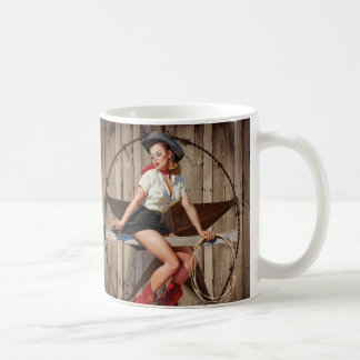 Mug Cow-girl en bois de pays occidental d'étoile de