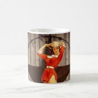 Mug Cow-girl solitaire en bois de pays occidental
