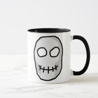 Mug Crâne gris et noir en pierre. Style primitif