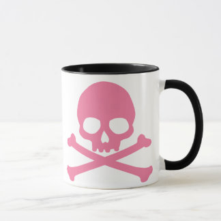 Mug Crâne rose simple et os croisés