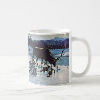 Mug Créatures vintages et élans de forêt dans la neige
