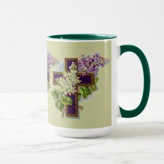 Mug Croix pourpre avec des fleurs
