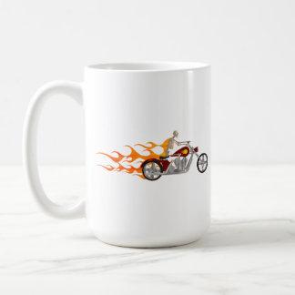 Mug Cycliste et flammes squelettiques :