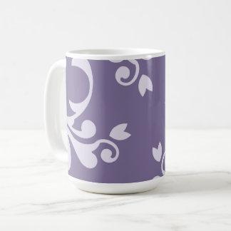 Mug Damassé royale, motif de damassé - blanc pourpre