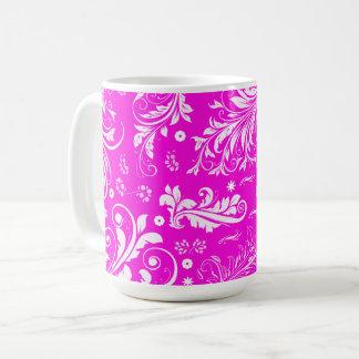 Mug Damassé vénitienne, motif de damassé - blanc rose