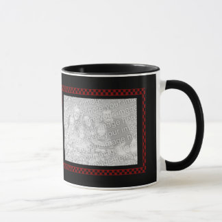 Mug Damier noir rouge fait sur commande des photos |