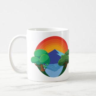 Mug 👍 de Sun, de montagne, de lac et d'arbres