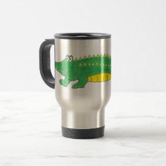 Mug De Voyage Animal jaune vert de crocodile de Croc d'alligator
