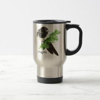 Mug De Voyage Art curieux de nature d'oiseau de pie d'aquarelle