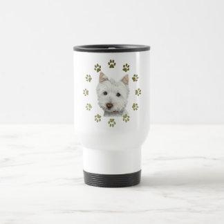 Mug De Voyage Art mignon et pattes de chien de Westie